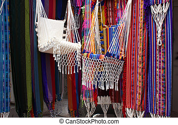 Stall Selling Hammock in Otavalo - Handmade hammocks in a...
