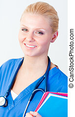 Young happy doctor holding a folder - Young female happy...
