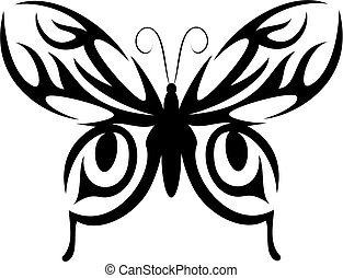 Butterfly tattoo - Isolated butterfly tattoo in tribal style...