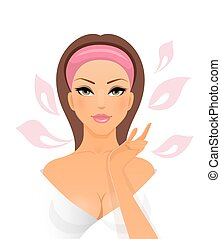 Beautiful woman on a white background - Vector illustration...