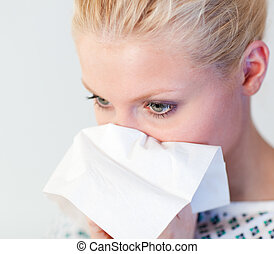 Patient with the flu - Young Patient with the flu in a...