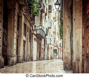 Old streets of Barrio Gotico in Barcelona, Catalonia.