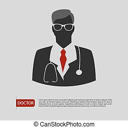 Doctor man icon 2 colors - Vector illustration of Doctor man...