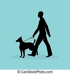 Blind man silhouette image - Vector illustration of Blind...