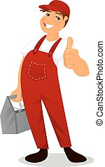 Plumber in red overall - Vector illustration of Plumber in...