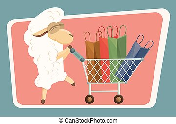 Vector illustration. Card with baby lamb and shopping bags....