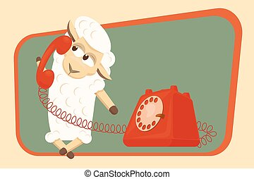 Vector illustration. Card with calling baby lamb. - Baby...
