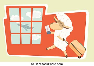 Vector illustration. Card with traveling baby lamb. - Happy...