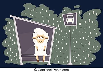 Vector illustration. Card with baby lamb waiting for the...