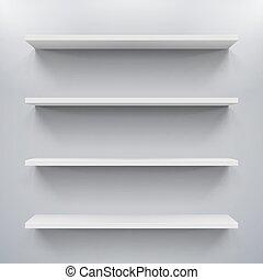 Shelves - Gorizontal white bookshelves on the gray wall