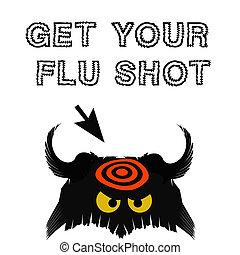 flu shot illustration - flu germ black with red target on...
