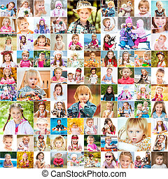 One year in the life of two young sisters. collage of photos