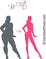 Slim and fat girls - Vector illustration of Slim and fat...