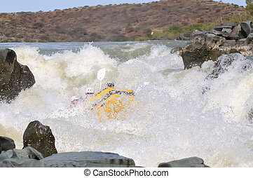 Negotiating Hell's Gate in the Gariep River (Orange River),...