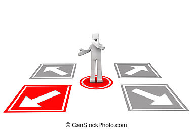 Making decision concept - man looking at the four arrow...