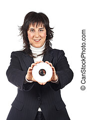 Business woman holding a dvd disc over a white background....