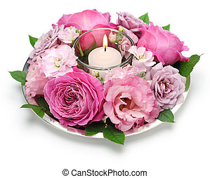 rose flower arrangement with candle - table flower...