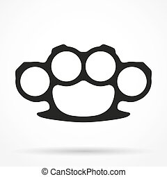 Silhouette simple symbol of Brassknuckles vector...