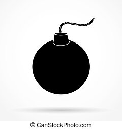 Silhouette simple symbol of Black Bomb and wick Vector...
