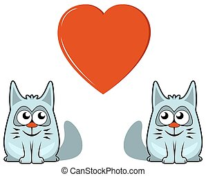 two cats with heart - two isolated cats with big red heart