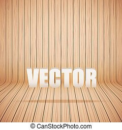 Curved wooden background interior. Vector