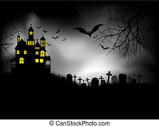 Haunted house on Halloween night