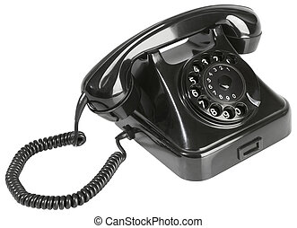 Old Black Bakelite Telephone Cutout - Black Rotary Phone...