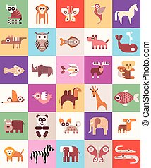 Animals - Animals, Fishes and Birds - vector illustration....