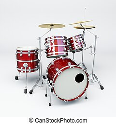 Drum set of red material and chromed metal