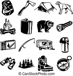 Vector black camping icon set