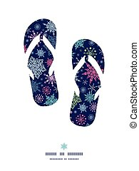 Vector snowflakes on night sky flip flops silhouettes...