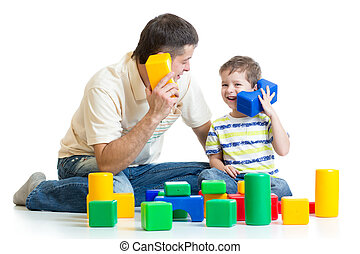 dad and kid boy role-playing together isolated