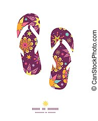 Vector colorful stars flip flops silhouettes pattern frame...