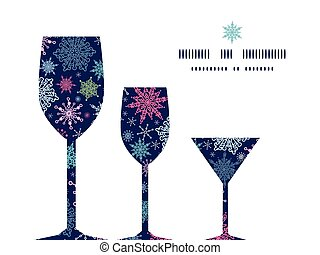 Vector snowflakes on night sky three wine glasses...