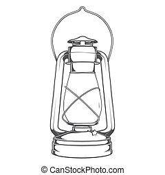 Antique Old Kerosene Lamp isolated on a white background....