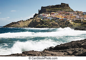 Castelsardo, Sardinia, Italy Viewed from the coast
