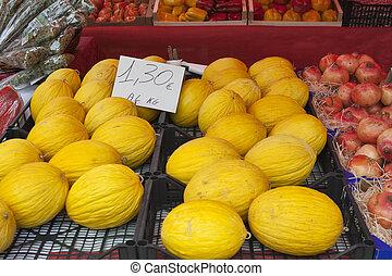 Melones, calle, etiqueta, precio, Mercado