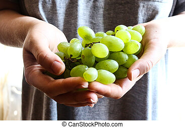 sprigs of green grapes in hands,raw fruits