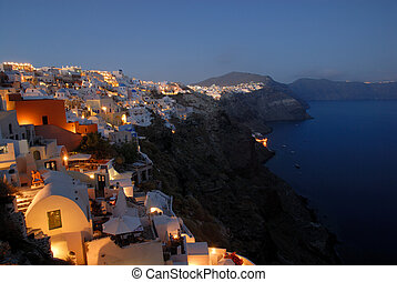 View over Oia at dusk, island Santorini, Greece