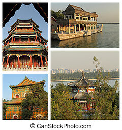 group of images from Summer Palace in Beijing, UNESCO world heri