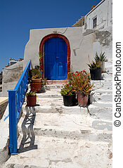 Blue door in Thira, Santorini Greece