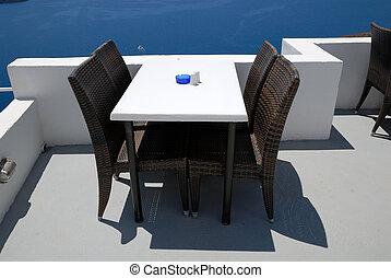 café, terraço, vista, sobre, Caldera, Thira,...