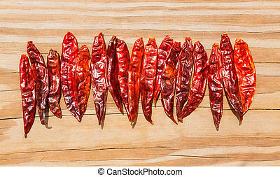 Chile de arbol seco dried hot Arbol pepper on wooden...