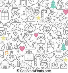 Merry Christmas wrapping paper pattern outline icons