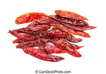 Chile de arbol seco dried hot Arbol pepper on white...