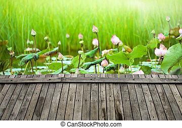 wood floor and lotus