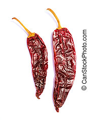 Chile Guajillo seco dried hot chili pepper on white...