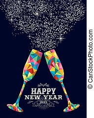 New year 2015 color glass greeting card