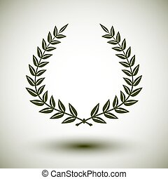 Laurel wreath - Green laurel wreath on white background