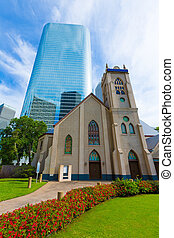 Houston cityscape Antioch Church in Texas US - Houston...